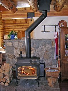 Lopi wood stove. angled pipe