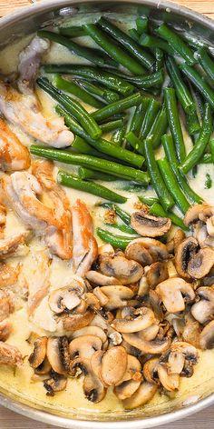 Chicken Green Beans, Mushroom Chicken, Green Bean Mushroom, Fried Green Beans, Chicken Asparagus, Green Bean Recipes, Beans Recipes, Recipes With Green Beans And Mushrooms, Mushroom Recipes