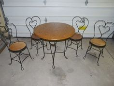 Vintage Ice Cream Parlor Table Chairs Set Nice | eBay >>>Just bought a nearly identical set for my porch yesterday from a local antique shop for a fraction of the price I've seen everywhere else! Score!!