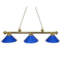 Table Lights and Lamps 75189: Ozone Brass Pool Table Light With Blue Shades BUY IT NOW ONLY: $139.99