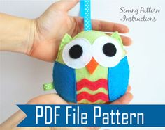 Owl  PDF Sewing pattern  Kids craft Project A670 by Mariapalito