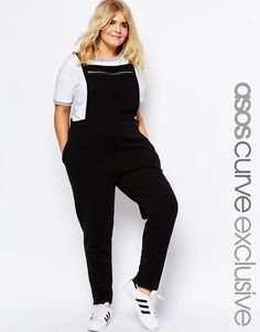 Image 1 of ASOS CURVE Overall Jumpsuit in Sweat with Zip Front