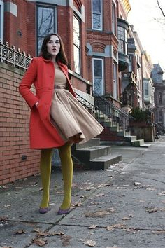 Try Unusual Color Pairings - All The Different Ways To Wear Tights This Fall - Photos