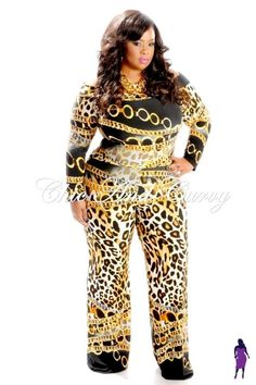 2-piece Cropped Top and Pants in Black and Gold Chain Print   Low Stock Alert: Available at: http://chicandcurvy.com/tops/product/10102-new-plus-size-set-cropped-top-pants-in-black-gold-chain-print-palazzo-set-1x-2x-3x