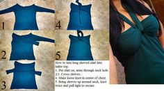 How to turn a long sleeved shirt into halter top - 1.Put shirt on, arms through neck hole. - 2.Cross sleeves. - 3.Make loose knot in center of chest. - 4.Bring sleeves up around neck, knot twice and pull tight to secure.