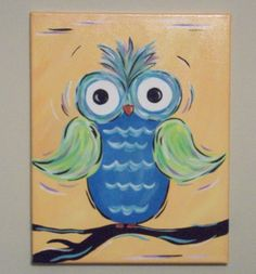 Kid's Room Hand Painted Owl Canvas by keepitsassydesigns on Etsy, $17.00
