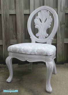 lilac whitewash painted wood chair damask upholstery