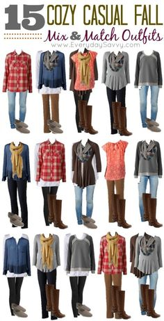 15 Mix and Match Cozy Casual Fall Outfits from Kohls Fall is here and you know the cool weather will be here before you know it. We put together a new fall mix and match fashion board all with cozy casual items from Kohls. These looks are simple but loo Casual Fall Outfits, Fall Winter Outfits, Autumn Winter Fashion, Cute Outfits, Dress Winter, Kohls Outfits, Casual Winter, Fall Work Outfits, Casual Wear