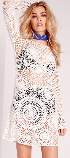 Missguided - scoop back crochet shift dress white