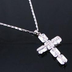 White Silver Swarovski Church Wedding Bridal Jewelry Cross Necklaces SKU-10802462