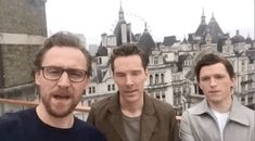tom holland | Tumblr Look at Benedict Cumberbatch and Tom Holland's heads <<< I looked at the middle and saw Sherlock Holmes. He's not Doctor Strange without facial hair!