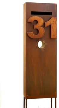 corten steel letterbox house numbers - Google Search