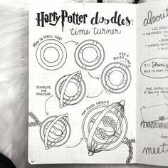 Harry Potter Drawings Easy, Harry Potter Sketch, Arte Do Harry Potter, Bullet Journal Aesthetic, Bullet Journal Art, Bullet Journal Inspiration, Journal Ideas, Harry Potter Journal, Time Turner