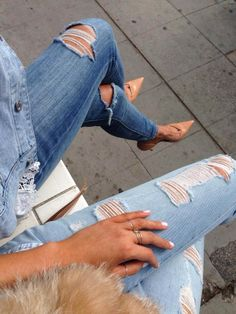 ripped denim + nude heels