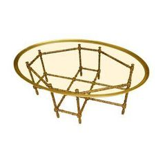 Baker Faux Bamboo and Glass Cocktail Table