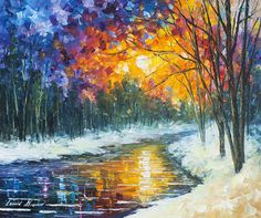 Winter Art Work Sunset Oil Painting On Canvas By Leonid