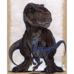 Blue and Rexy, Jurassic Word original artwork prints…. Blue Jurassic World, Jurassic World Fallen Kingdom, Prehistoric Creatures, Mythical Creatures, Jurrassic Park, Dinosaur Tattoos, Dinosaur Art, Raptor Dinosaur, Falling Kingdoms