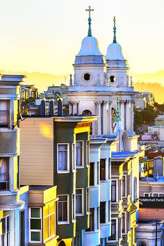 Houses And Church On Russian Hill At Sunrise. San Francisco  www.mitchellfunk.com