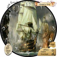 Queen's Sailing Ship Art DIY Digital Collage  от CocoPuffsDesigns