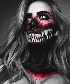 Creepiest Halloween makeup ideas that you can easily pull off Gruseligste Halloween-Make-up-Ideen, die Sie mühelos abziehen können Creepiest Halloween makeup ideas you can easily pull off Dark face with big mouth skeleton. Creepy Halloween Makeup, Creepy Makeup, Amazing Halloween Makeup, Halloween Makeup Looks, Sfx Makeup, Makeup Art, Wolf Makeup, Halloween Fashion, Halloween Halloween