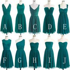 Simple Chiffon Bridesmaid Dresses,Dark Green Short Bridesmaid Dresses