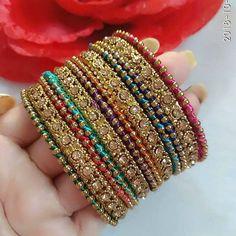 Image may contain: 1 person Silk Thread Bangles Design, Silk Bangles, Bridal Bangles, Bridal Jewelry Sets, Fancy Jewellery, Thread Jewellery, Stylish Jewelry, Women's Jewelry, Pakistani Jewelry