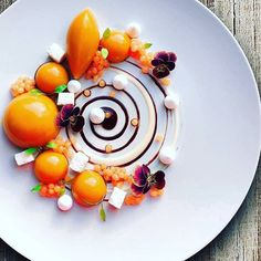 Carrot cream and coconut milk, passion fruit, carrot & orange caviar, dehydrated coconut by Food Is Fuel, Food 52, Great Desserts, Delicious Desserts, Dessert Ideas, Chef Cuistot, Carrot Cream, Michelin Star Food, Food Crush