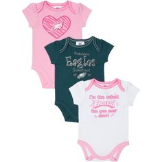 Baby girl outfit my 1st football season baby girl outfit philadelphia eagles newborninfant girls 3 pack bodysuit creepers pink negle Image collections