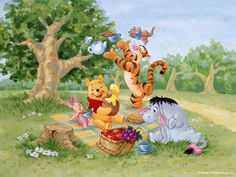 Pooh's Picnic Picture from Winnie The Pooh. Winnie the Pooh and his Friends Disney Winnie The Pooh, Winnie The Pooh Pictures, Cartoon Wallpaper, Disney Wallpaper, Walt Disney, Disney Art, Disney Love, Disney Ideas, Eeyore