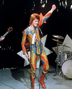 David Bowie performing Starman on Top of the Pops, 6 July 1972 Click for full article