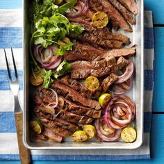 Key West Flank Steak - Key West Flank Steak You are in the right place about snack recipes Here we offer you the most beau - Beef Flank Steak, Flank Steak Recipes, Beef Recipes, Cooking Recipes, Grill Recipes, Recipes Dinner, Water Recipes, Party Recipes, Recipies