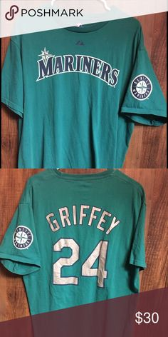 Vintage Seattle Mariners Ken Griffey Jr. Player T Sweet Gently worn Vintage Seattle Mariners Ken Griffey Jr. Majestic Player Jersey Teeshirt. This shirt can be a Men's Large or a Women's XL. I excellent condition with no major flaws. Majestic Tops Tees - Short Sleeve