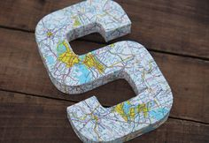 """Vintage Map Covered Letter - """"S"""" - Home Decor, East Coast, 3 Dimensional, Free Standing"""