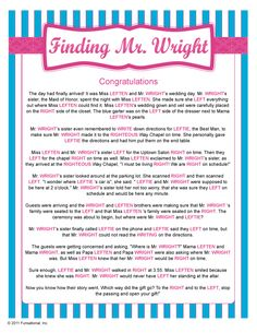 Finding Mr. Wright - Bridal Shower Game #bridalshower, #bridalshowergame, #partygame