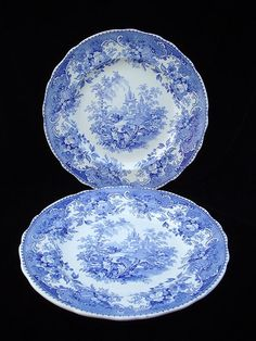 Pair of Blue Transferware Staffordshire Plates RARE Indian Scenery Pattern William Hackwood Hanley, Staffordshire England c.1827 - 1843