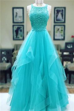 Turquoise Prom Dress,Ball Gowns Prom Dress,Elegant Prom Dress,Lace Appliques Prom Gowns