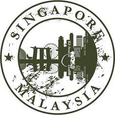 Singapore Malaysia Travel Retro Rubber Stamp Car Bumper Sticker Decal x Singapore Malaysia, Malaysia Travel, Suitcase Stickers, Car Bumper Stickers, Suitcase Cake, Decorative Plates, Stamp, Retro, Bumper Stickers For Cars
