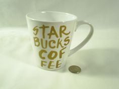Starbucks Gold Lettering Coffee Mug Cup 2015 Holds 9.63 Ounces #Starbucks