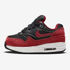 Nike Air Max 1 LE Td Toddler 609371-048 Black Red Shoes Sneakers Baby Size 5