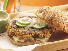 Teriyaki Veggie-Pork Burgers with an Orange Teriyaki Mayo