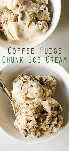 Coffee Fudge Chunk Ice Cream (can be made vegan, sub honey and use vegan fudge sauce) Fudge Ice Cream, Sorbet Ice Cream, Yummy Ice Cream, Ice Cream Treats, Vegan Ice Cream, Ice Cream Desserts, Frozen Desserts, Ice Cream Recipes, Ice Cream Machine Recipes