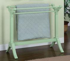 sage green quilt rack