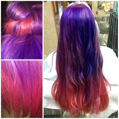 Space hair in purple, pink and blue