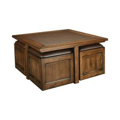 Hammary Furniture KANSON 2 :: SQUARE COCKTAIL TABLE WITH STORAGE CUBES