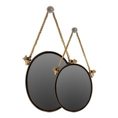 Set of two round metal wall mirrors with rope hangers.   Product: Small and large mirrorConstruction Material: Metal, ...
