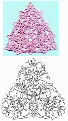 y CROCHET-madona-mía: Gráficos de triangulo a crochet. A pretty triangle motif!TRICO y CROCHET-madona-mía: Gráficos de triangulo a crochet. A pretty triangle motif! Crochet Diy, Filet Crochet, Art Au Crochet, Crochet Bunting, Mode Crochet, Crochet Diagram, Irish Crochet, Crochet Crafts, Crochet Doilies