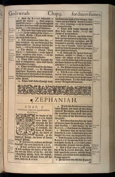 Zephaniah Chapter 1 Original 1611 Bible Scan, courtesy of Rare Book and Manuscript Library, University of Pennsylvania