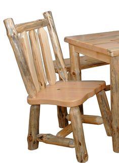 Rustic Pine Log Slab Live Edge Kitchen Chair by FurnitureBarnUSA