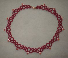 VA Tech Maroon & Orange tatted necklace, tatting, lace, Virginia Tech, college jewelry