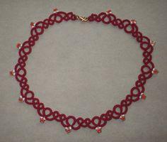 VA Tech Maroon & Orange tatted necklace, tatting, lace, Virginia Tech, college jewelry